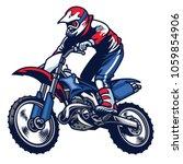 motocross rider ride the... | Shutterstock .eps vector #1059854906