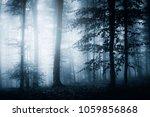 dark woods with trees in fog ...   Shutterstock . vector #1059856868