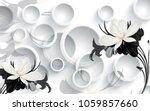 3d floral wallpaper for walls | Shutterstock . vector #1059857660