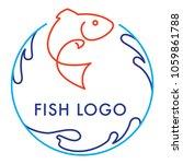 blue orange round logo icon... | Shutterstock .eps vector #1059861788