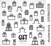 set line icon with gifts box ... | Shutterstock .eps vector #1059865328