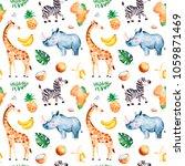 africa watercolor seamless...   Shutterstock . vector #1059871469