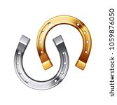 Stock vector gold and silver horseshoe isolated on white background 1059876050