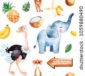 africa watercolor seamless... | Shutterstock . vector #1059880490