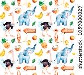 africa watercolor seamless...   Shutterstock . vector #1059880829