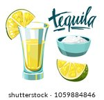 tequila shot with lime and salt.... | Shutterstock .eps vector #1059884846