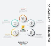 five paper white round elements ... | Shutterstock .eps vector #1059890420