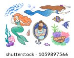hand drawn vector set of ... | Shutterstock .eps vector #1059897566