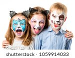 Children with animal face...