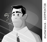 retro cartoon man smoking... | Shutterstock .eps vector #1059924728