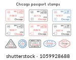 passport stamps. chicago  usa.... | Shutterstock .eps vector #1059928688