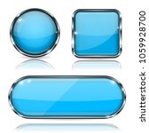 blue glass buttons with chrome... | Shutterstock .eps vector #1059928700
