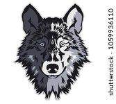 wolf bolt emblem  mascot head... | Shutterstock . vector #1059936110