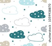 seamless pattern with clouds... | Shutterstock .eps vector #1059938870