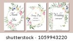 botanic card with wild flowers ... | Shutterstock .eps vector #1059943220