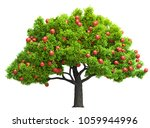 red apple tree isolated 3d... | Shutterstock . vector #1059944996
