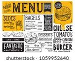 bagels restaurant menu. vector...   Shutterstock .eps vector #1059952640