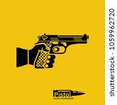 pistol silhouette hold in hand... | Shutterstock .eps vector #1059962720