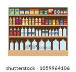 shelves with lot of snacks and...   Shutterstock .eps vector #1059964106