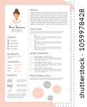 feminine resume with... | Shutterstock . vector #1059978428