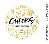 cheers. happy birthday.... | Shutterstock .eps vector #1059995486