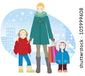 family shopping. young woman... | Shutterstock .eps vector #105999608