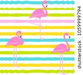 flamingo pattern on stripes... | Shutterstock .eps vector #1059999794