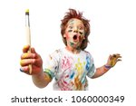 young emotional boy with brush  ... | Shutterstock . vector #1060000349