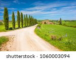 beautiful landscape in tuscany  ... | Shutterstock . vector #1060003094