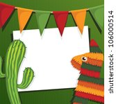 mexican party card with cactus  ... | Shutterstock .eps vector #106000514