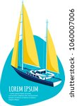 yacht club sticker with sail... | Shutterstock .eps vector #1060007006