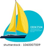 yacht club sticker with sail... | Shutterstock .eps vector #1060007009