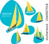 yacht club stickers with sail... | Shutterstock .eps vector #1060007018