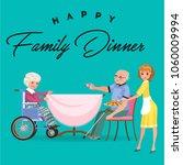 family eating dinner at home ... | Shutterstock .eps vector #1060009994