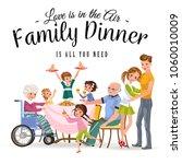 family eating dinner at home ... | Shutterstock .eps vector #1060010009