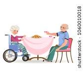 family eating dinner at home ... | Shutterstock .eps vector #1060010018
