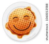 belgium round waffle with happy ... | Shutterstock .eps vector #1060013588
