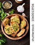 toasts with cheese  greens and... | Shutterstock . vector #1060013936