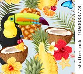 pattern with toucan and exotic... | Shutterstock .eps vector #1060033778