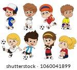cartoon soccer kid with... | Shutterstock .eps vector #1060041899