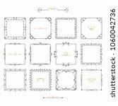 black doodle line square frames ... | Shutterstock .eps vector #1060042736