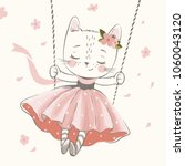 cute kitty in the swing hand... | Shutterstock .eps vector #1060043120