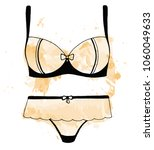 sketch of lingerie. bra and... | Shutterstock .eps vector #1060049633