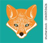 cute fox head with green... | Shutterstock .eps vector #1060053626