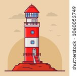 lighthouse tower lodge on the... | Shutterstock .eps vector #1060053749
