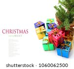 stack of red gift boxes... | Shutterstock . vector #1060062500