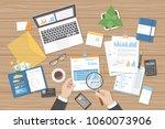 businessman auditor inspects... | Shutterstock .eps vector #1060073906