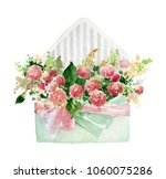 gift envelope with red roses.... | Shutterstock . vector #1060075286