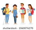 vector set of tourists | Shutterstock .eps vector #1060076270