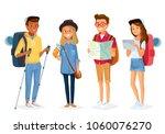 vector set of tourists | Shutterstock .eps vector #1060076270
